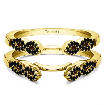 0.38 Ct. Black Stone Infinity Ring Guard Enhancer in Yellow Gold