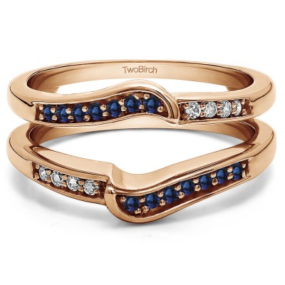0.22 Ct. Sapphire and Diamond Channel Set Knott Designed Ring Guard Enhancer in Rose Gold