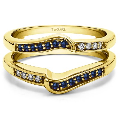 0.22 Ct. Sapphire and Diamond Channel Set Knott Designed Ring Guard Enhancer in Yellow Gold
