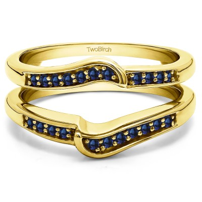 0.22 Ct. Sapphire Channel Set Knott Designed Ring Guard Enhancer in Yellow Gold