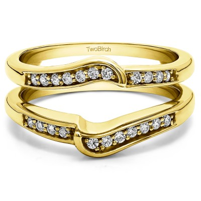 0.22 Ct. Channel Set Knott Designed Ring Guard Enhancer in Yellow Gold
