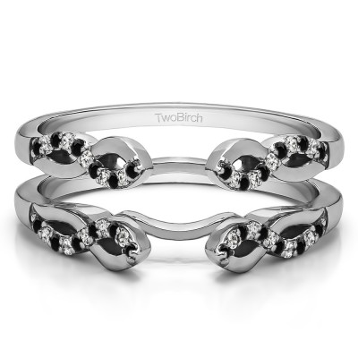 0.22 Ct. Black and White Stone Cathedral Infinity Designed Wedding ring guard