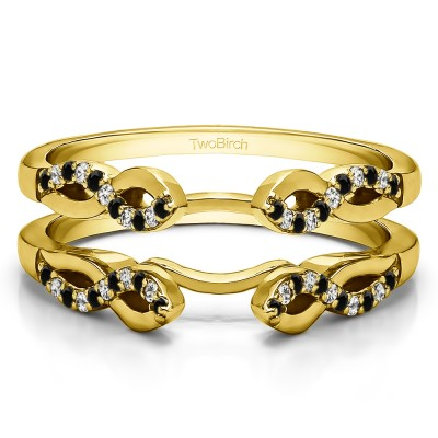 0.22 Ct. Black and White Stone Cathedral Infinity Designed Wedding ring guard in Yellow Gold