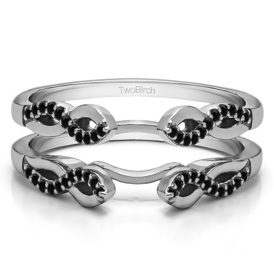 0.22 Ct. Black Stone Cathedral Infinity Designed Wedding ring guard