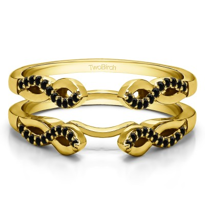 0.22 Ct. Black Stone Cathedral Infinity Designed Wedding ring guard in Yellow Gold