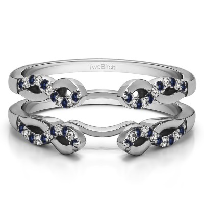 0.22 Ct. Sapphire and Diamond Cathedral Infinity Designed Wedding ring guard