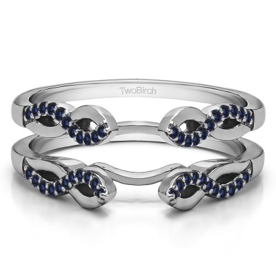 0.22 Ct. Sapphire Cathedral Infinity Designed Wedding ring guard