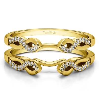 0.22 Ct. Cathedral Infinity Designed Wedding ring guard in Yellow Gold