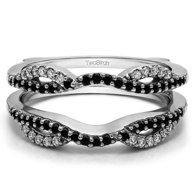 0.32 Ct. Black and White Stone Infinity Criss Cross ring guard