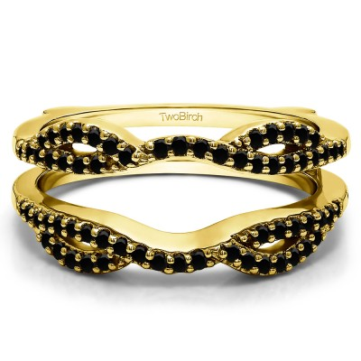 0.32 Ct. Black Stone Infinity Criss Cross ring guard in Yellow Gold