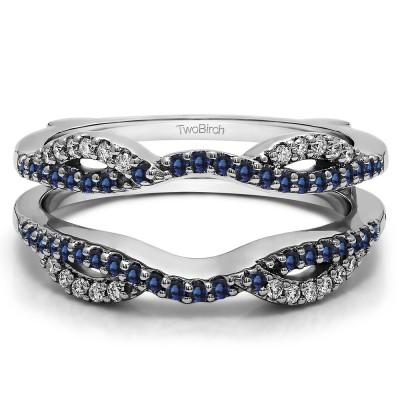 0.32 Ct. Sapphire and Diamond Infinity Criss Cross ring guard