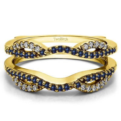 0.32 Ct. Sapphire and Diamond Infinity Criss Cross ring guard in Yellow Gold