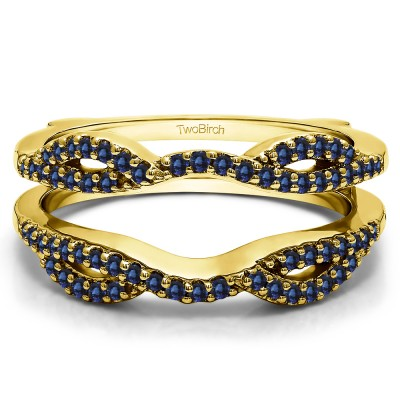 0.32 Ct. Sapphire Infinity Criss Cross ring guard in Yellow Gold