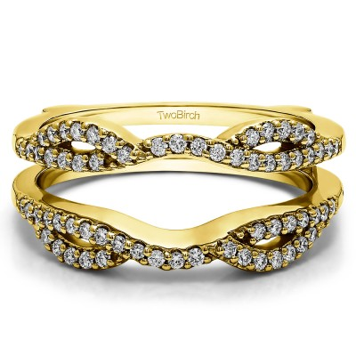 0.32 Ct. Infinity Criss Cross ring guard in Yellow Gold