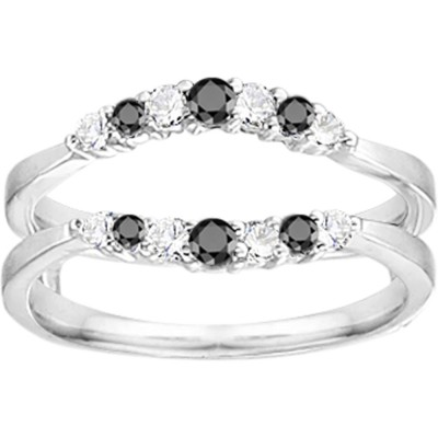 0.35 Ct. Shared Prong Curved Wedding Ring Guard Enhancer With Black and White Cubic Zirconia Mounted in Sterling Silver (Size 7.5)