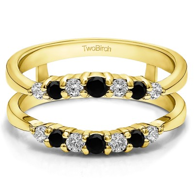 0.35 Ct. Black and White Stone Shared Prong Curved Wedding Ring Guard Enhancer in Yellow Gold