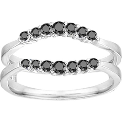 0.35 Ct. Black Stone Shared Prong Curved Wedding Ring Guard Enhancer
