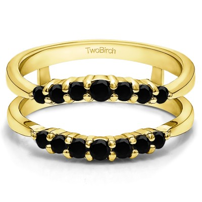 0.35 Ct. Black Stone Shared Prong Curved Wedding Ring Guard Enhancer in Yellow Gold