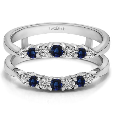 0.35 Ct. Sapphire and Diamond Shared Prong Curved Wedding Ring Guard Enhancer