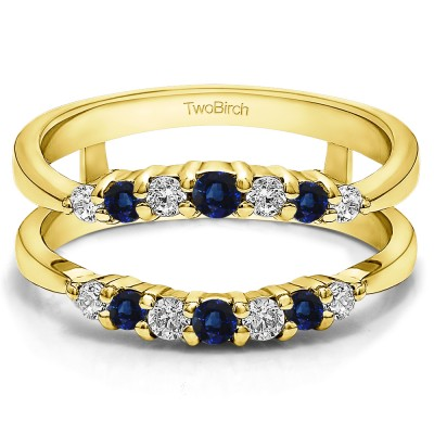 0.35 Ct. Sapphire and Diamond Shared Prong Curved Wedding Ring Guard Enhancer in Yellow Gold