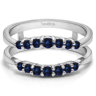 0.35 Ct. Sapphire Shared Prong Curved Wedding Ring Guard Enhancer