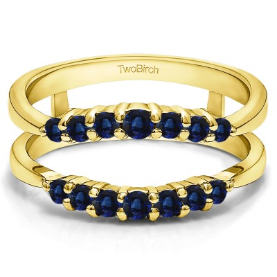 0.35 Ct. Sapphire Shared Prong Curved Wedding Ring Guard Enhancer in Yellow Gold