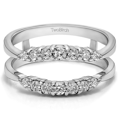 0.35 Ct. Shared Prong Curved Wedding Ring Guard Enhancer With Brilliant Moissanite Mounted in Sterling Silver (Size 5.75)