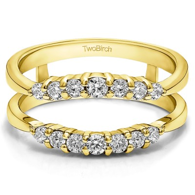 0.35 Ct. Shared Prong Curved Wedding Ring Guard Enhancer in Yellow Gold