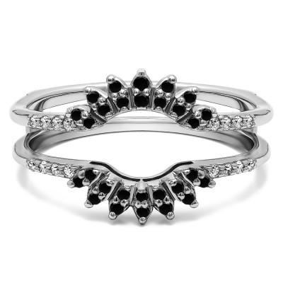 0.2 Ct. Black and White Stone Contoured Wedding Ring Jacket