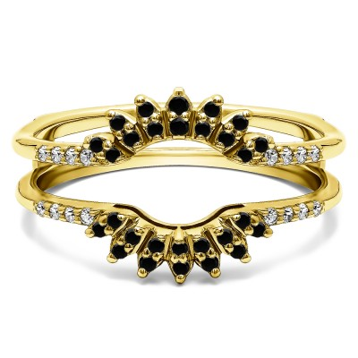 0.2 Ct. Black and White Stone Contoured Wedding Ring Jacket in Yellow Gold