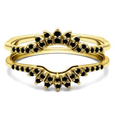 0.2 Ct. Black Stone Contoured Wedding Ring Jacket in Yellow Gold
