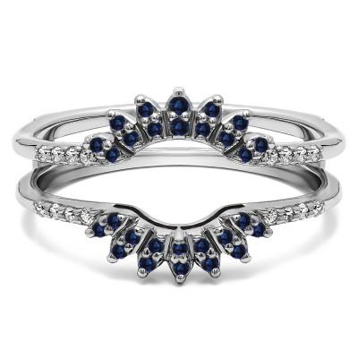 0.2 Ct. Sapphire and Diamond Contoured Wedding Ring Jacket