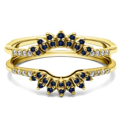 0.2 Ct. Sapphire and Diamond Contoured Wedding Ring Jacket in Yellow Gold