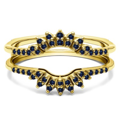 0.2 Ct. Sapphire Contoured Wedding Ring Jacket in Yellow Gold