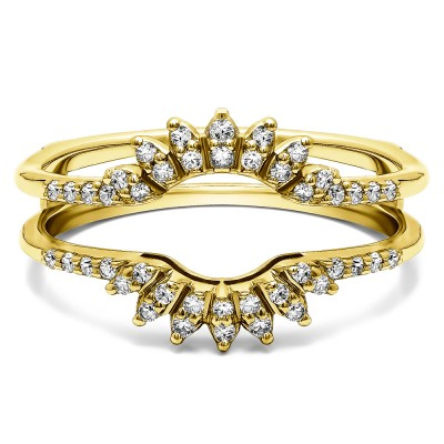 0.2 Ct. Contoured Wedding Ring Jacket in Yellow Gold