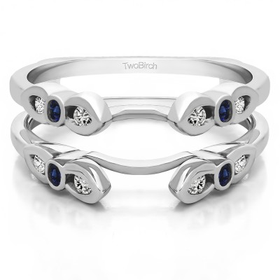 0.08 Ct. Bezel Cathedral Wedding Ring Guard With Sapphire And Diamonds(G,I2) Mounted in Sterling Silver.(Size 5.5)