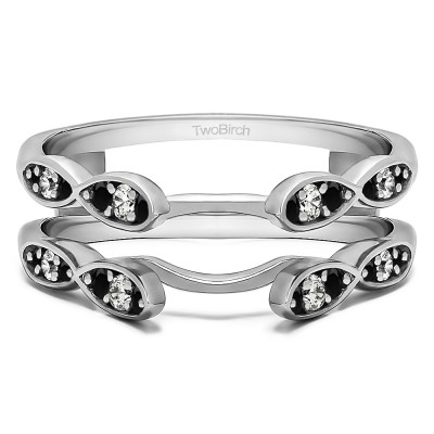 0.32 Ct. Black and White Stone Shared Prong Cathedral Infinity Ring Guard