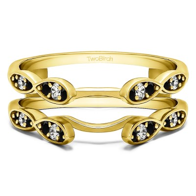 0.32 Ct. Black and White Stone Shared Prong Cathedral Infinity Ring Guard in Yellow Gold