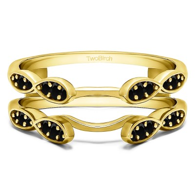 0.32 Ct. Black Stone Shared Prong Cathedral Infinity Ring Guard in Yellow Gold