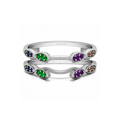 Genuine Birthstone Infinity Wedding Ring Guard Enhancer(0.32 Carat)