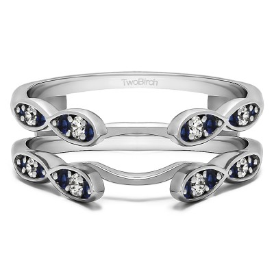 0.32 Ct. Sapphire and Diamond Shared Prong Cathedral Infinity Ring Guard