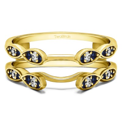 0.32 Ct. Sapphire and Diamond Shared Prong Cathedral Infinity Ring Guard in Yellow Gold