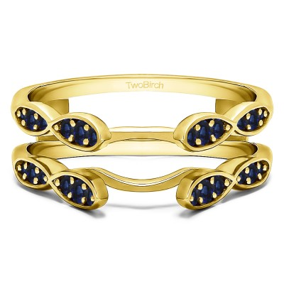 0.32 Ct. Sapphire Shared Prong Cathedral Infinity Ring Guard in Yellow Gold
