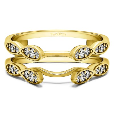0.32 Ct. Shared Prong Cathedral Infinity Ring Guard in Yellow Gold