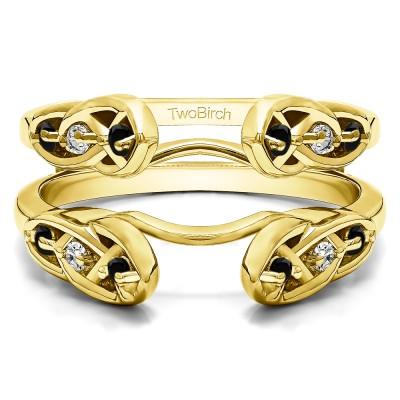 0.24 Ct. Black and White Stone Infinity Cathedral Celtic ring guard in Yellow Gold