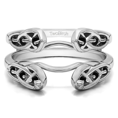 0.24 Ct. Black Stone Infinity Cathedral Celtic ring guard
