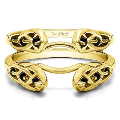 0.24 Ct. Black Stone Infinity Cathedral Celtic ring guard in Yellow Gold