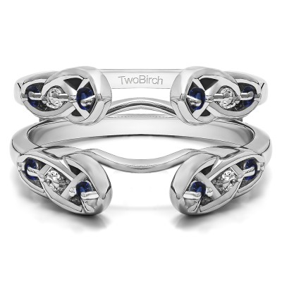 0.24 Ct. Sapphire and Diamond Infinity Cathedral Celtic ring guard