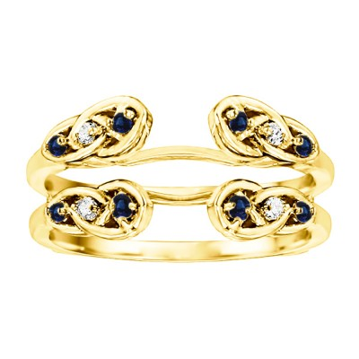 0.24 Ct. Sapphire and Diamond Infinity Cathedral Celtic ring guard in Yellow Gold