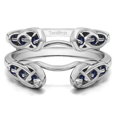 0.24 Ct. Sapphire Infinity Cathedral Celtic ring guard